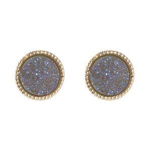 Blue & Gold Druzy Earring Stud